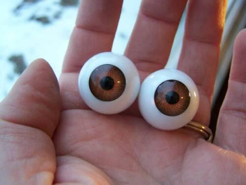 22mm pair Brown Full Round Doll eyes Acrylic Halloween