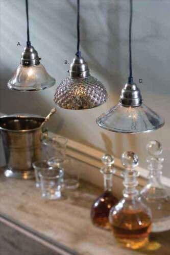 Antiqued Mercury Glass Pendant Light Vintage Reproduction