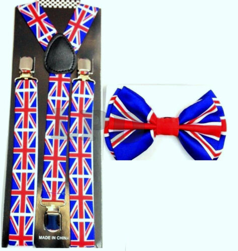 Awesome British Clip-on Adjustable Braces-UK FLAG Bow Tie And Suspenders Set NEW