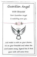 2 x Wish String Bracelet or Anklet - Guardian Angel - Rose Quartz Gemstone W023