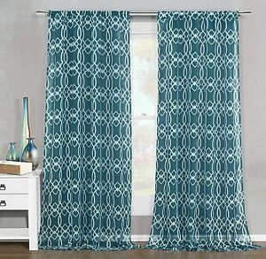 2 Sheer Window Curtain Panels Dark Teal Amp White Geometric