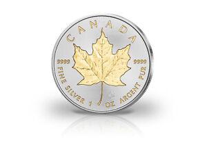 Maple-Leaf-1-oz-Silbermunze-2020-Kanada-mit-24-Karat-Goldapplikation