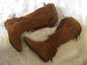 4303fefeb Image is loading Sam-Edelman-Uri-Fringe-Leather-Boots-Size-7-