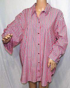 Southern Lady Women Plus Size 1x 2x 3x Red White Button Down Shirt Top Blouse