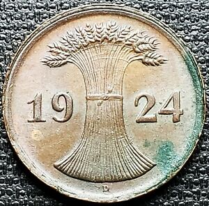 1924-D-Germany-2-Pfennig-Coin-Mint-Condition-Great-Detail
