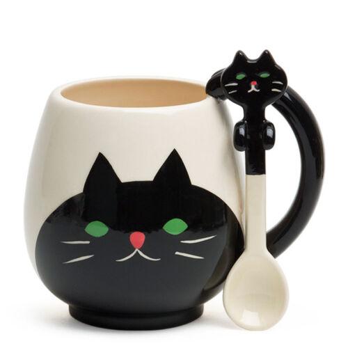 DECOLE Japan Ceramic Tea Coffee Mug Cup with Spoon Gift Box Set Kawaii Black Cat