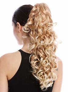 Postiche-Tresse-Boucles-Bouclee-Volumineux-Peigne-Long-50cm-Fraise-Blonde-Platin