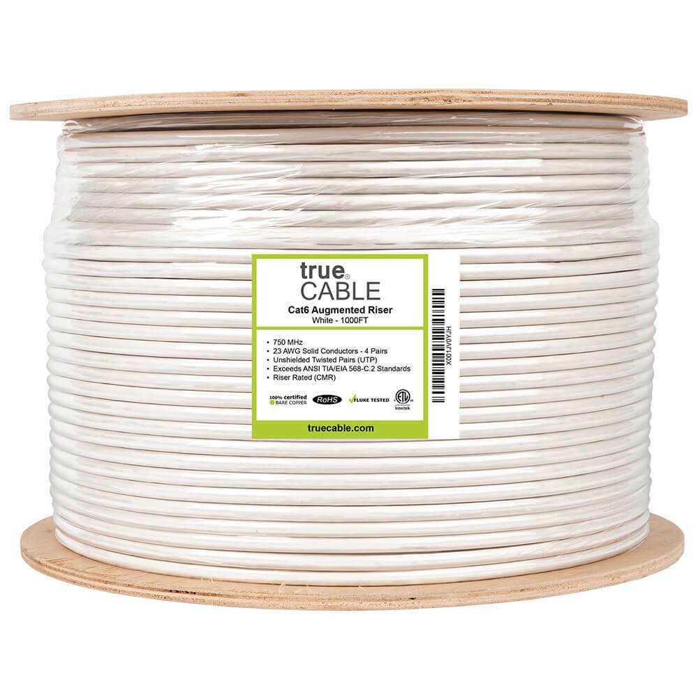CAT6 Ethernet Riser CMR Cable Gigabit White 1000FT SOLID BARE COPPER 23 AWG