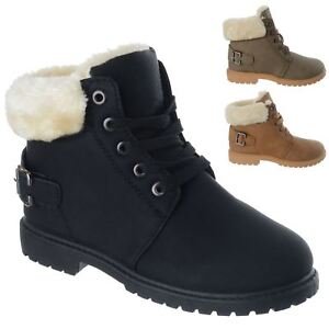 Kids Girls Children Warm Winter Snow Ankle Fur Lined Grip Sole Boots Shoes Size