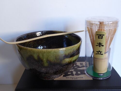 100 Count Whisk AMANOGAWA //Made in Japan Matcha Bowl Set Tea Ceremony w// Scoop