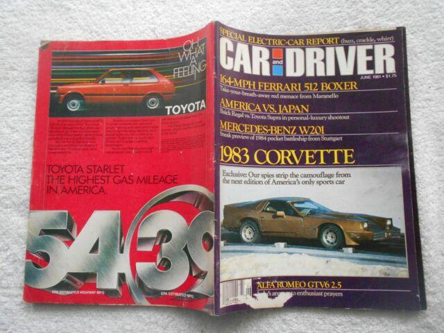 CAR AND DRIVER Magazine- JUNE,1981-1983 CORVETTE