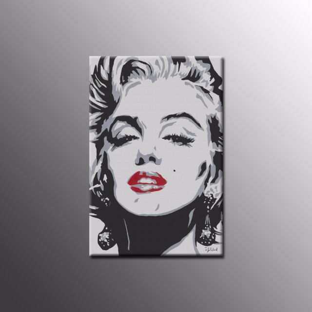 Framed Canvas Print Marilyn Monroe Red Lips Wall Art Painting ...