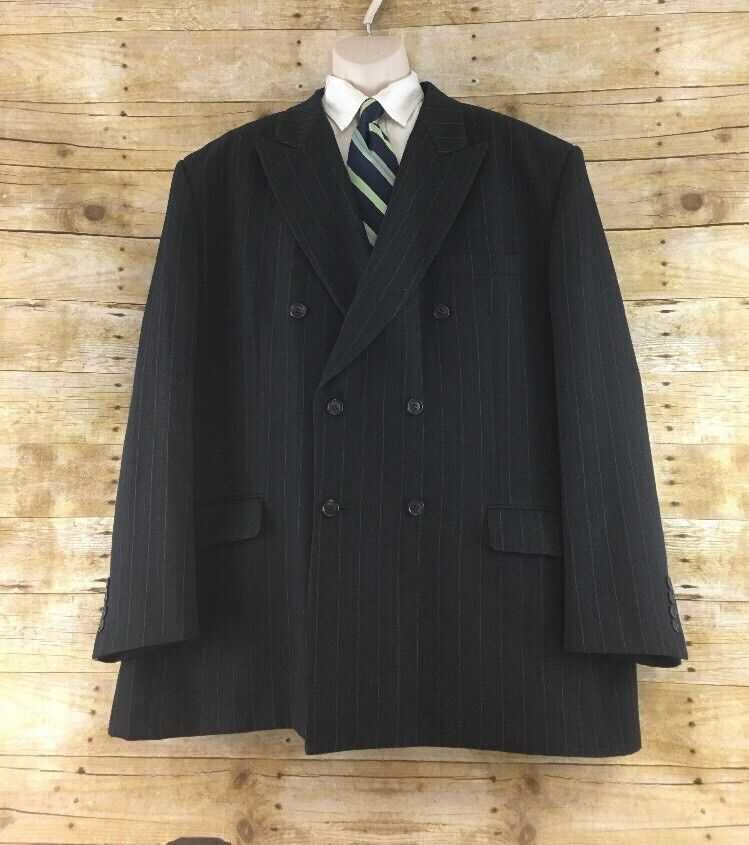 Vanetti Blazer 54L Charcoal Striped Double Breasted Polyester