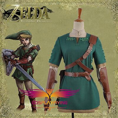 Legend of Zelda Twilight Princess LINK Green Clothes Cosplay Costume Custom Size