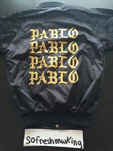 04f595c6470e0 Kanye West Chicago Pablo Pop Up Black Gold Bomber Jacket Sz 2XL ...