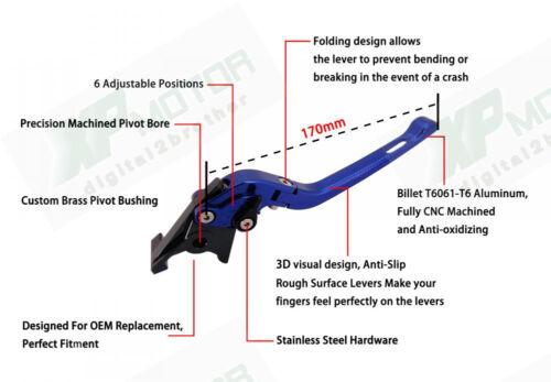 2005-2014 Yamaha YZF R6 Adjustable CNC 3D Feel Folding Brake Clutch Levers Set