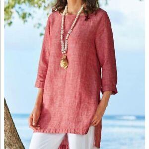Soft-Surroundings-Sorbetti-Red-Linen-Tunic-Top-Size-M