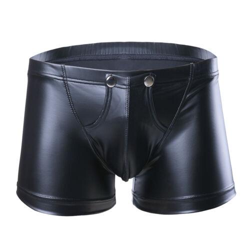 Men Lingerie Patent Leather Boxers Briefs Bikini Open Butt Underwear Underpants