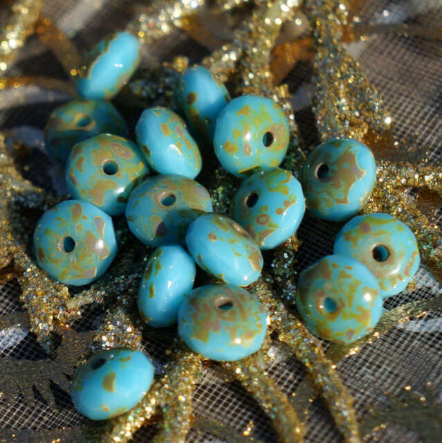 40pcs Picasso Brown Czech Glass Round Faceted Fire Polished Beads 6mm