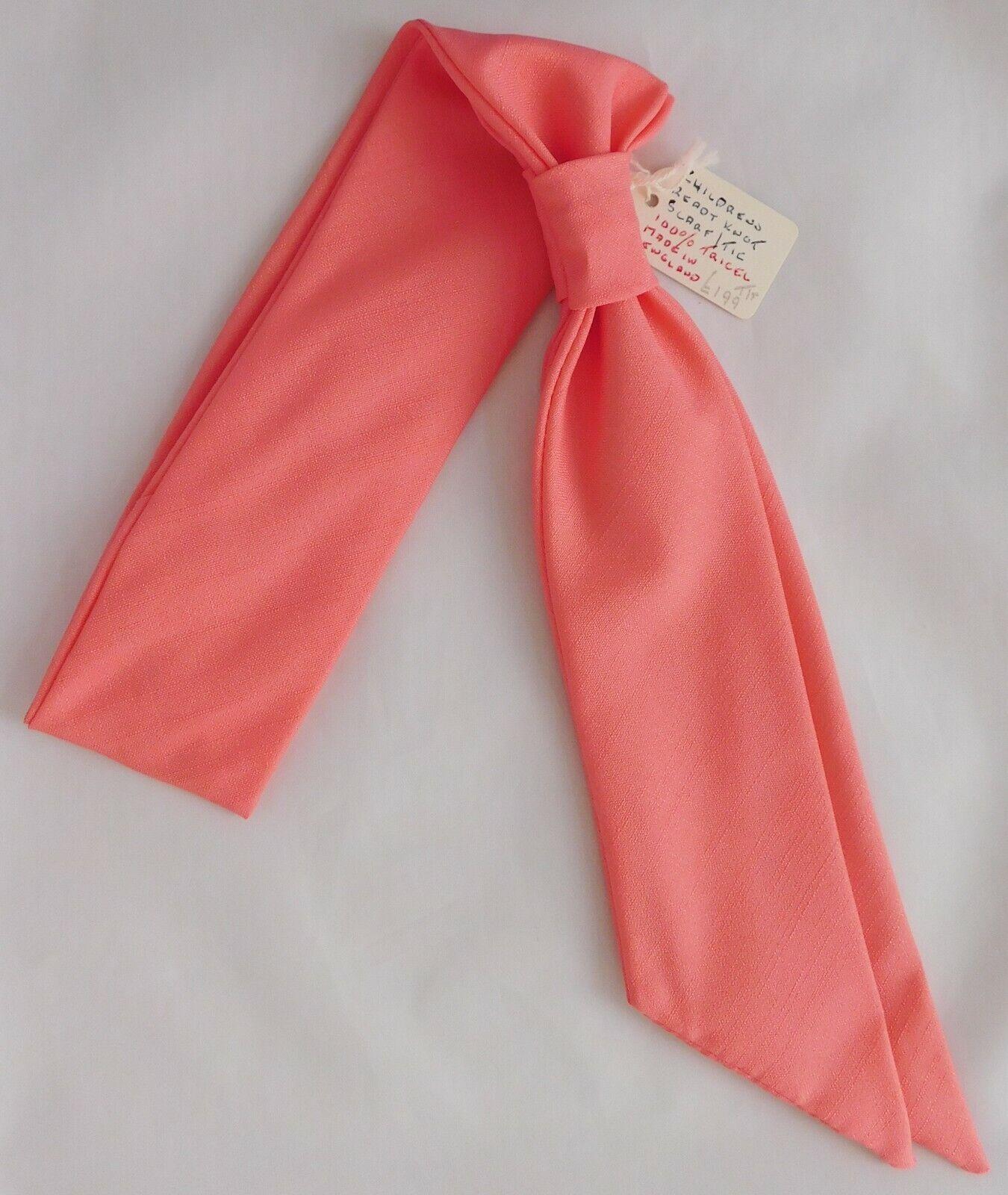 Girls ready-knot cravat scarf salmon pink hippie era vintage 1960s tie UNUSED