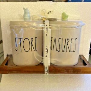 Rae Dunn EASTER Store & Treasures CANISTER SET w/ Wood TRAY Bunny & Chick LIDS
