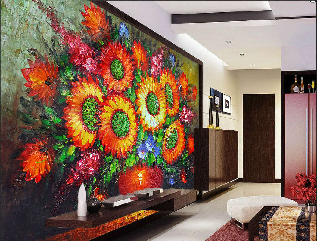3D Flower ROT Blau 756 Wallpaper Mural Wall Print Wall Wallpaper Murals US Lemon