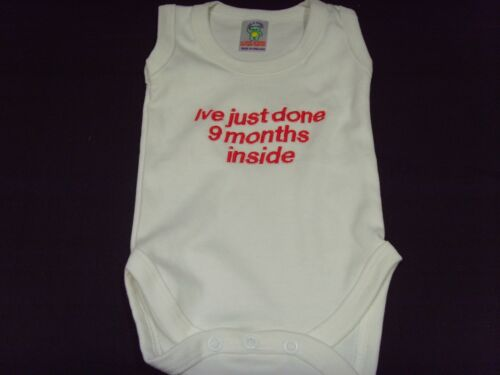 Funny Bordado Personalizado Chaleco bebé ducha regalo acabo de hacer 9 meses INS
