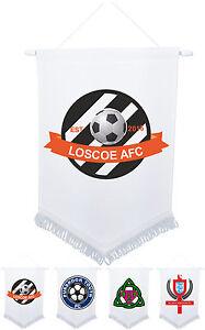 White-Pennant-Custom-Design-Personalised-Sport-25cm-x-18cm-Cup-Printed-Football