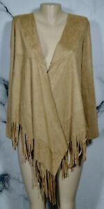 SAY-WHAT-Tan-Sueded-Microfiber-Open-Jacket-Small-Fringe-Trim-Long-Sleeves