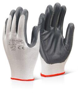 10-paires-b-click-2000-ec7gy-polyester-Gants-Nitrile-Gris-toutes-tailles