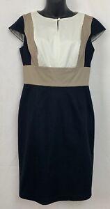 Worthington-Sheath-Dress-Size-6-Black-Beige-Cream-Color-Block-Cap-Sleeve-Career
