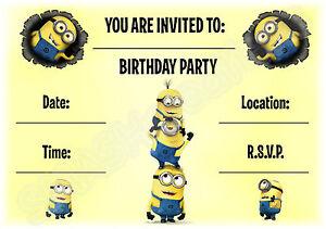 A5-KIDS-CHILDRENS-PARTY-INVITATIONS-X-12-MINION-LANDSCAPE-INVITES