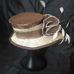 """Light Beige Brown Hat A Symmetric Feathers Society Wedding Races 21"""" Classic"""
