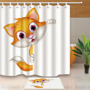 Cute Cartoon Cat For Kids Bathroom Shower Curtain Set 71 Inch Fabric
