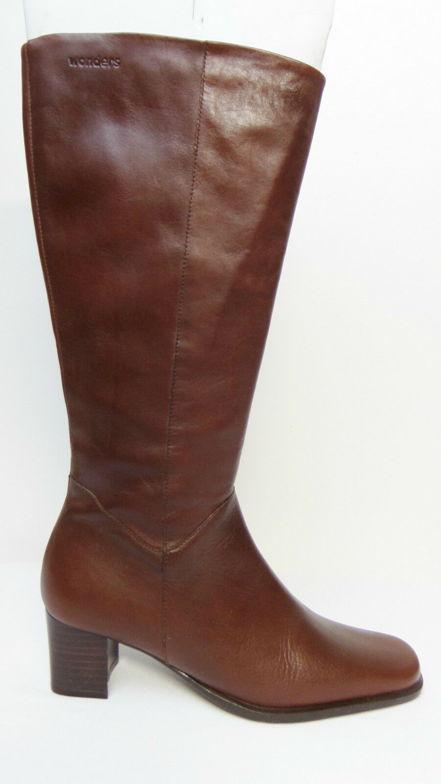 WONDERS Spain - Size 7.5 - Brown Boots Leather Fashion Mid Calf Boots Brown Heel 2