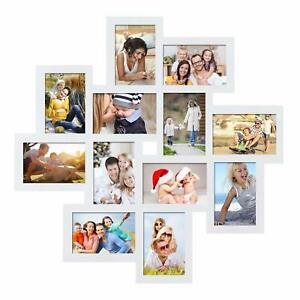 Adeco White Wood 12 Openings Wall Collage Picture Frame 4 X 6 Inch