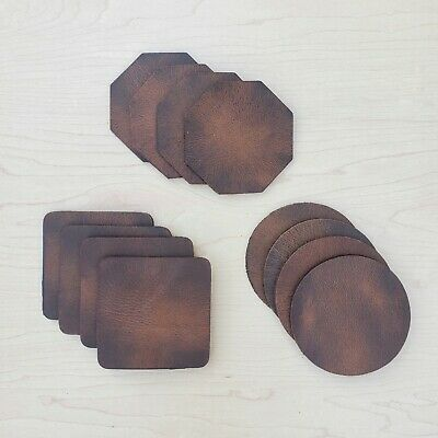 Set of 8 Round Marlondo Leather Coasters Brown Water Buffalo BLEMISH