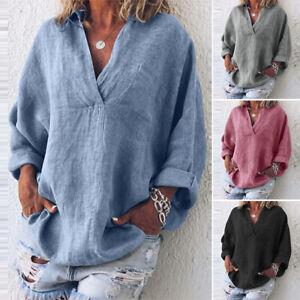 ZANZEA-Women-Oversize-Cross-V-Neck-Shirt-Tops-Ethnic-Solid-Blouse-Jumper-Tops
