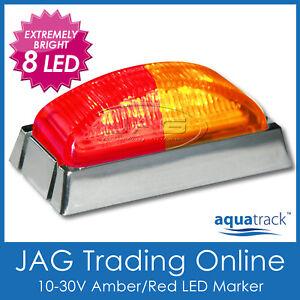 12V~24V 8-LED AMBER/RED MARKER LIGHT CHROME HOUSING -Boat/Trailer Clearance Lamp