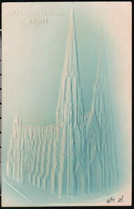 NYC-NY-Postcard-St-Patrick-039-s-Cathedral-Antique-Embossed-Vintage-City-Old-Church