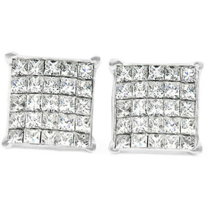 1-Ct-Diamond-Princess-Cut-Screw-Back-Studs-Womens-Earrings-10k-White-Gold