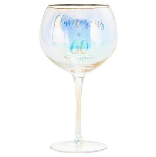 HAPPY BIRTHDAY /& AGE GIN GLASSES GOLD RIM GIFT BOXED PRESENT HOLOGRAPHIC MESSAGE
