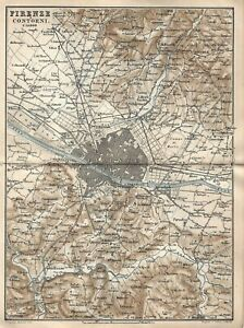 Firenze Cartina Geografica.Carta Geografica Antica Firenze E Dintorni Baedeker 1877 Antique Map Florence Ebay