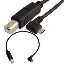 25CM USB 2.0 B Macho A Usb Micro 5 Pin Macho Ángulo Recto convertidor de cable de impresora