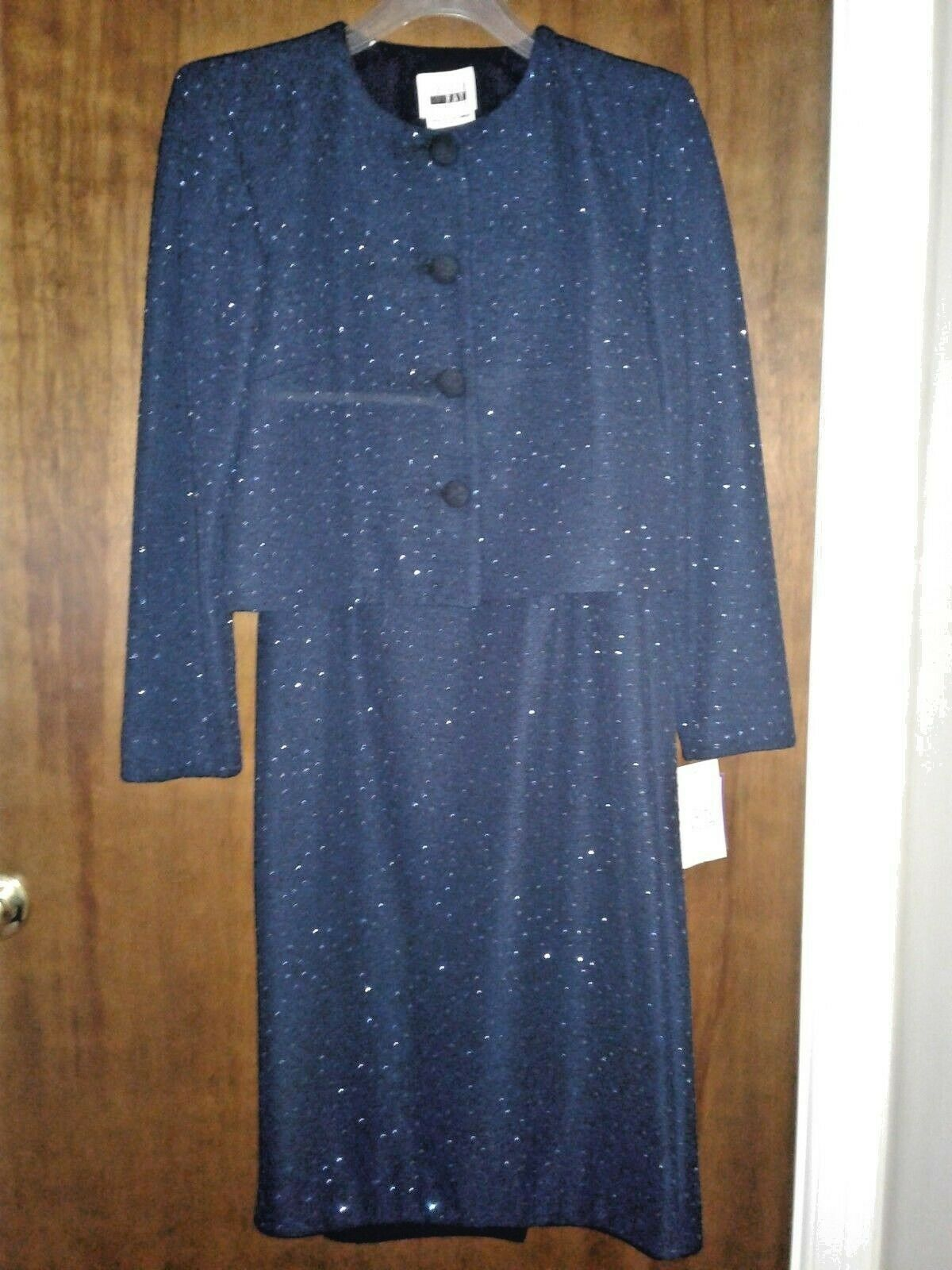 Leslie Faye Midnight Blue Mother of Bride Dress, NWT, Size 6P, Free Ship in U S