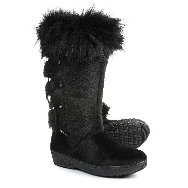 NWT OSCAR SPORT EKRU APRES Ski  Black Fur Tall Winter Boots  Size 10  395