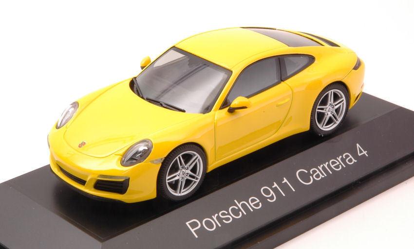 Porsche Porsche Porsche 911 Carrera 4 Coupe' jaune 1 43 Model HERPA 9d60e0
