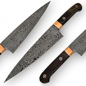 handmade wazirabad damascus full tang chef s fixed blade kitchen knife ebay. Black Bedroom Furniture Sets. Home Design Ideas