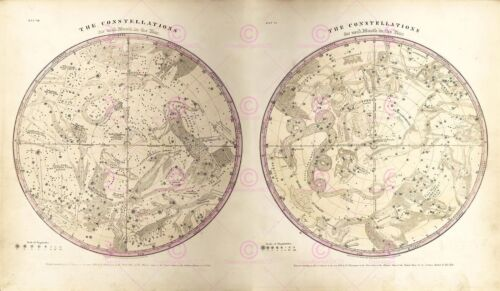 Map Space Astronomy Burritt 1856 Constellations Replica Canvas Art Print