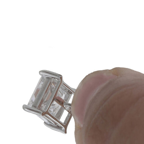1 Carat Princess Cut 1pc Stud Mens Earring 14k White Gold With Screwback 4-Prong